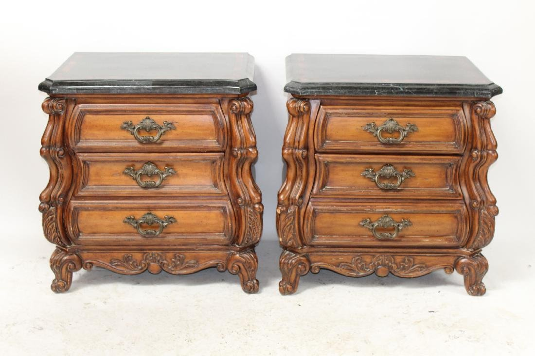 Pair of mahogany bombe chests or nightstands