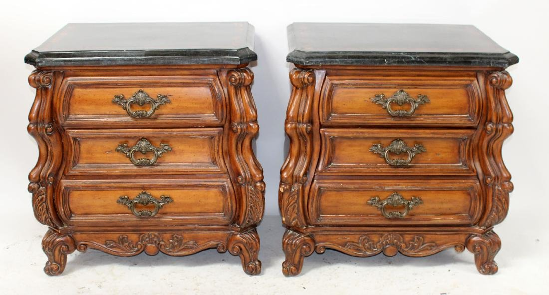Pair of mahogany bombe chests or nightstands - 2