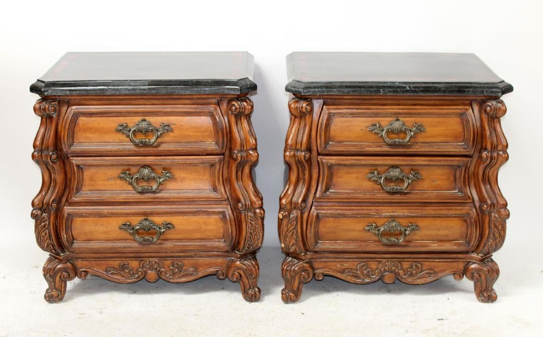 Pair of mahogany bombe chests or nightstands - 3