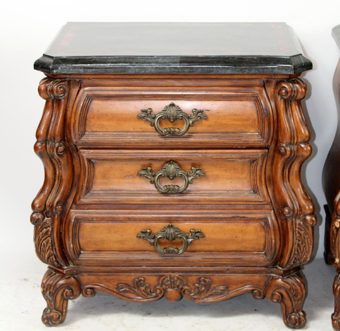 Pair of mahogany bombe chests or nightstands - 4