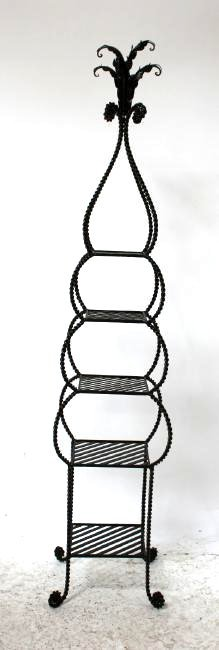 Iron tiered etagere shelf with rope border