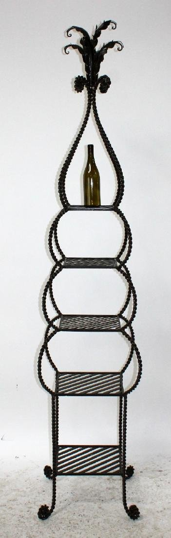 Iron tiered etagere shelf with rope border - 2