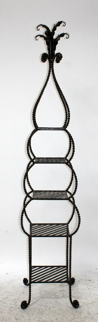 Iron tiered etagere shelf with rope border - 3