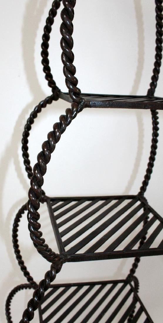 Iron tiered etagere shelf with rope border - 5