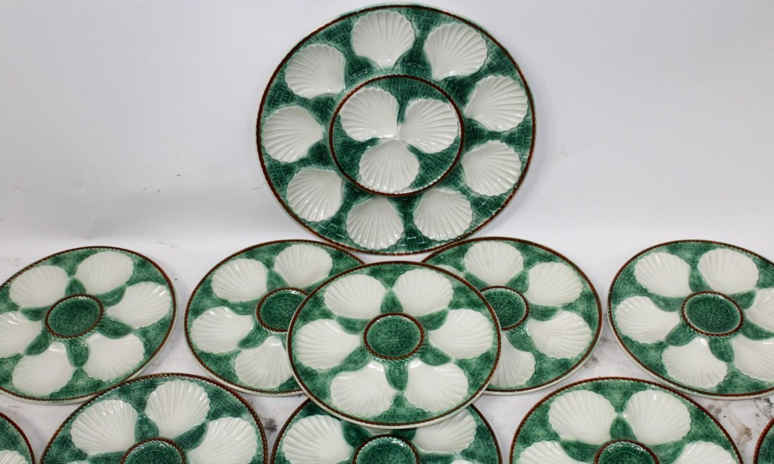 Lot of 12 French Majolica oyster plates with platter - 2