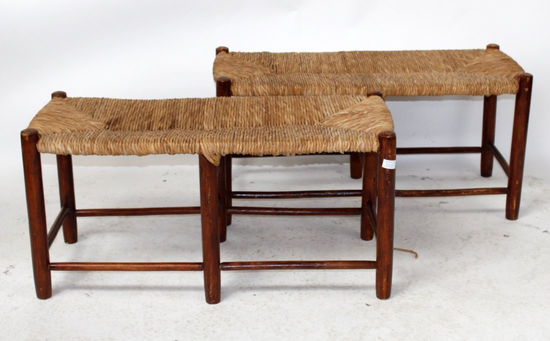 Pair of French Provincial rush seat benches