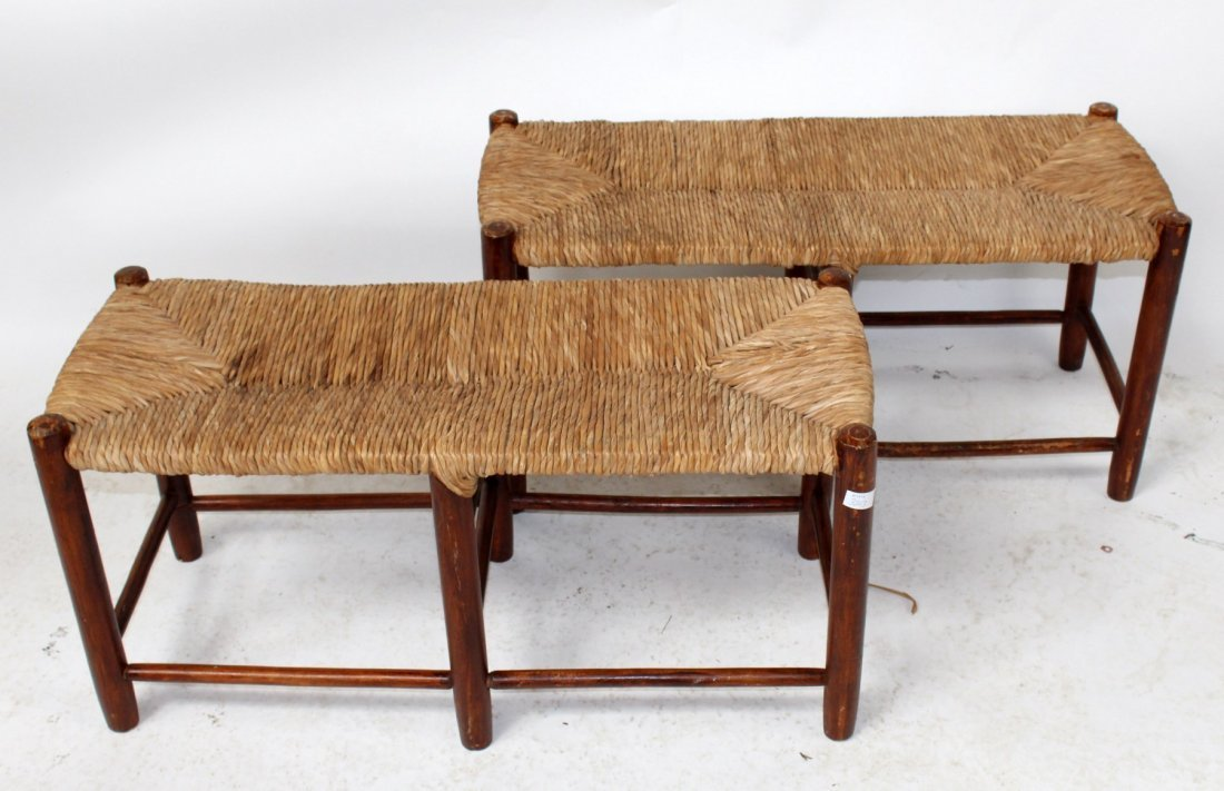 Pair of French Provincial rush seat benches - 2