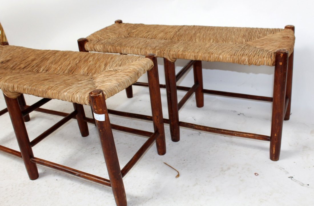 Pair of French Provincial rush seat benches - 3