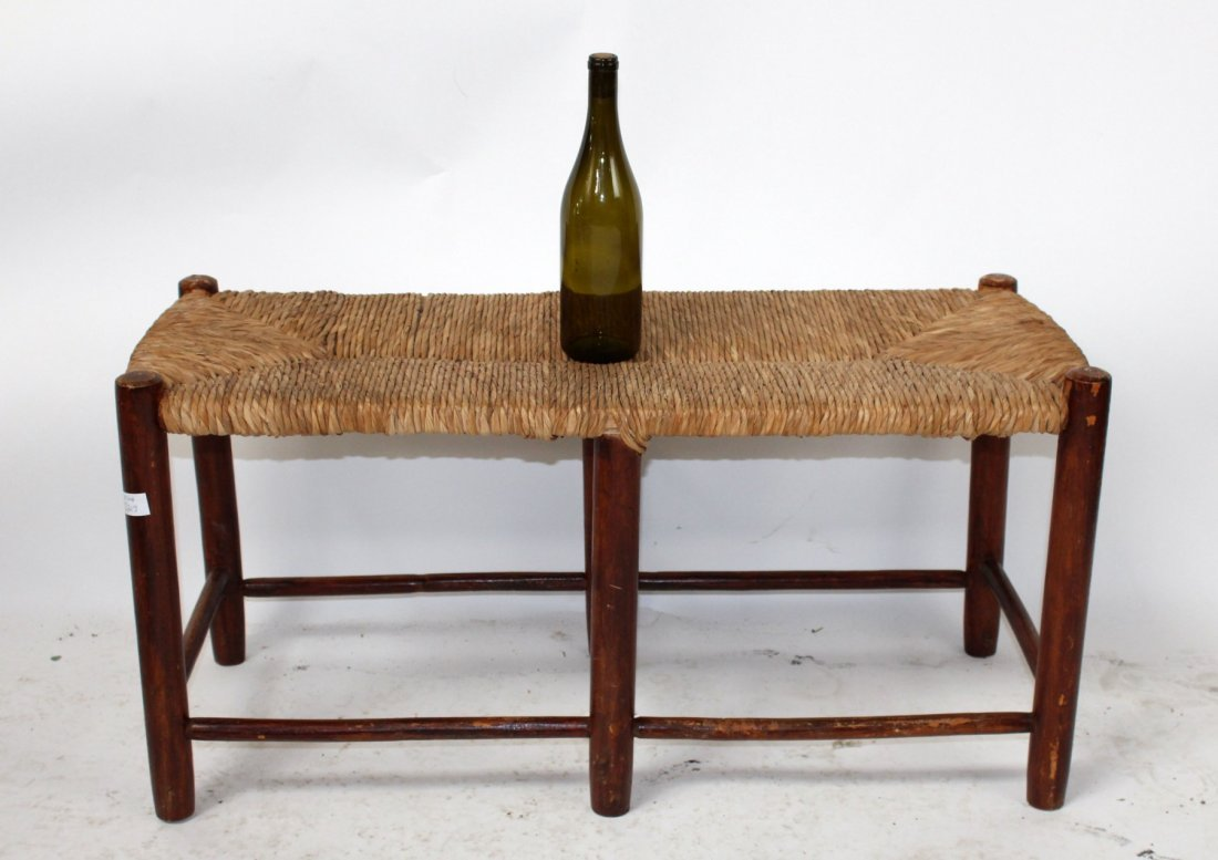 Pair of French Provincial rush seat benches - 4
