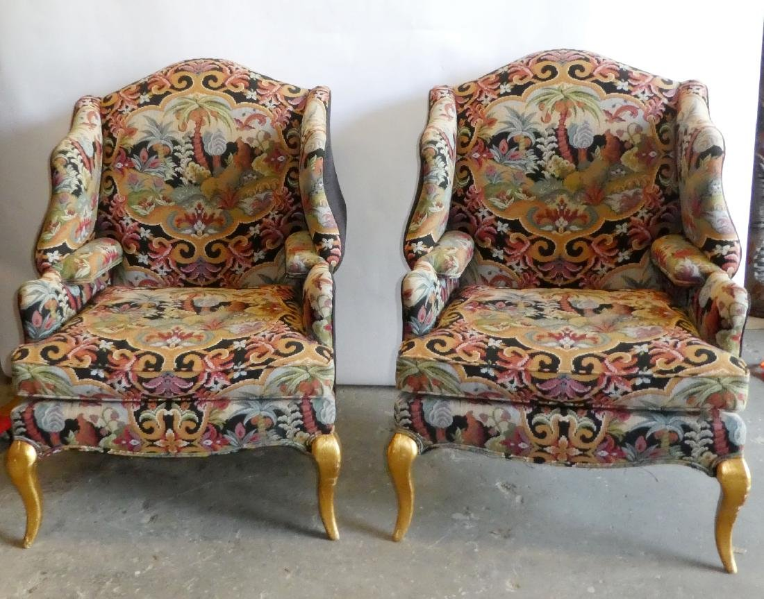 Pair wingback tapestry upholstered armchairs