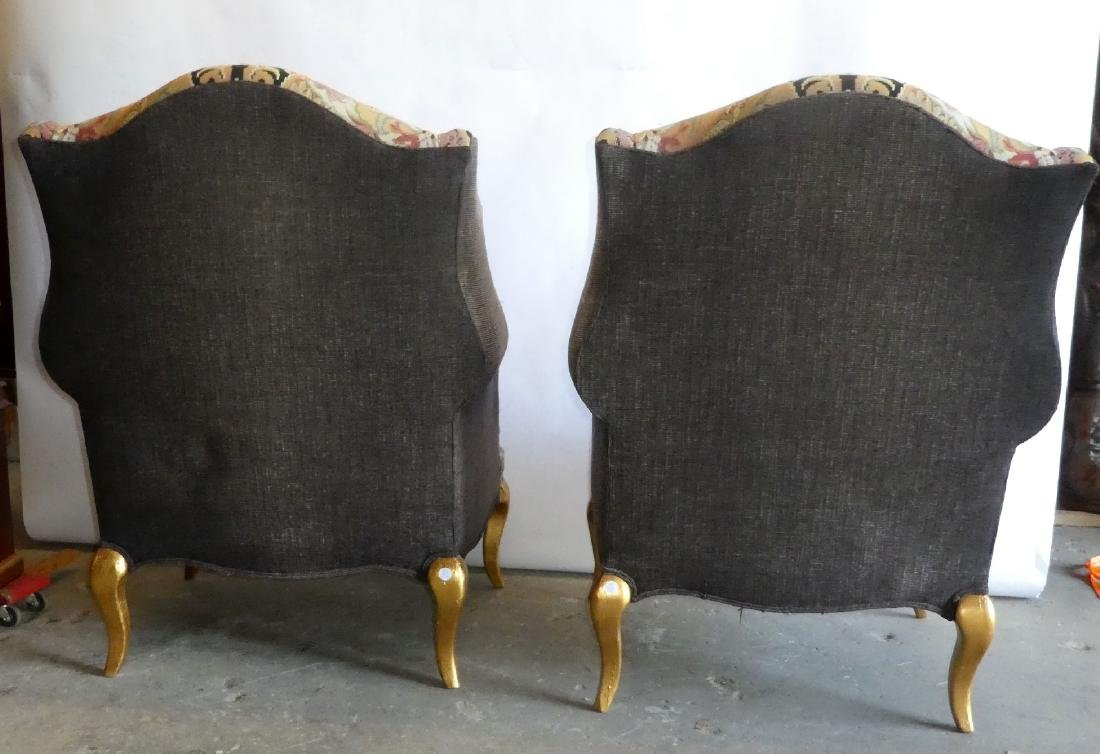 Pair wingback tapestry upholstered armchairs - 2