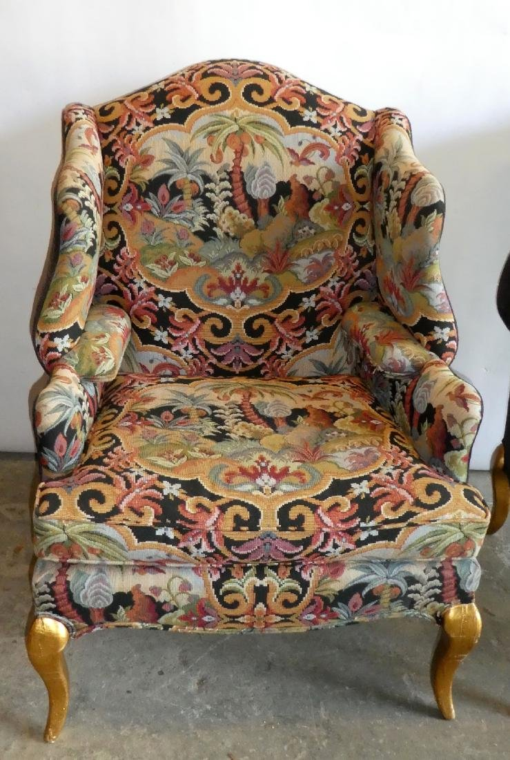 Pair wingback tapestry upholstered armchairs - 3