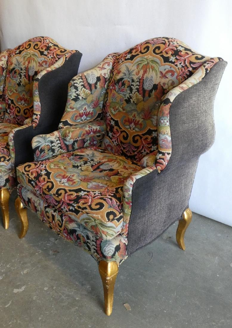 Pair wingback tapestry upholstered armchairs - 4