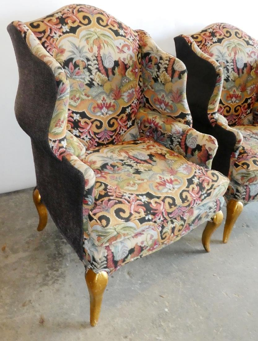 Pair wingback tapestry upholstered armchairs - 5