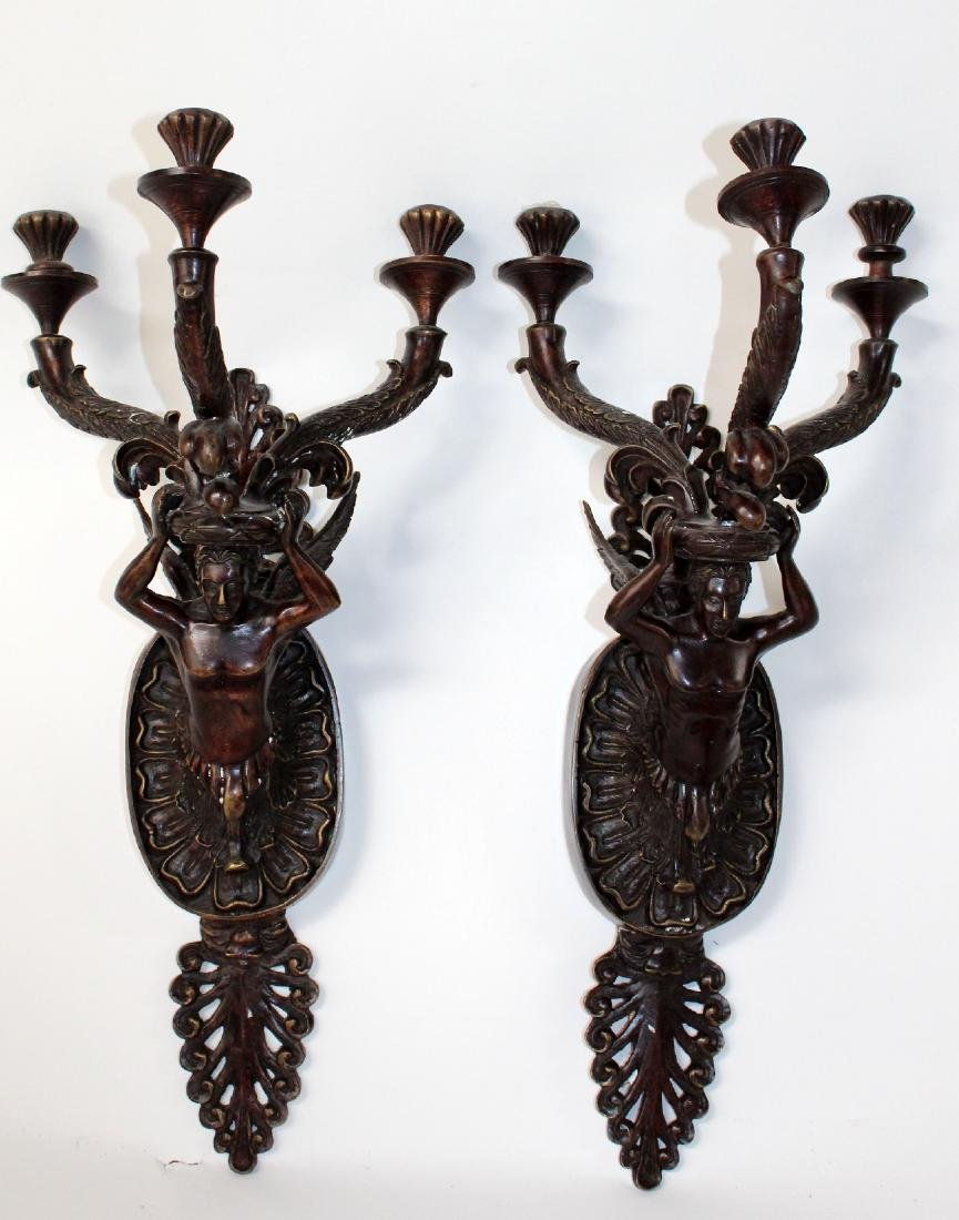 Pair of Maitland Smith bronze figural candle sconces