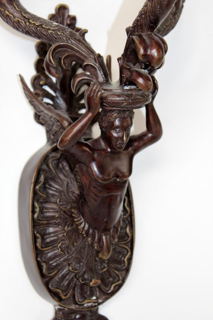 Pair of Maitland Smith bronze figural candle sconces - 3