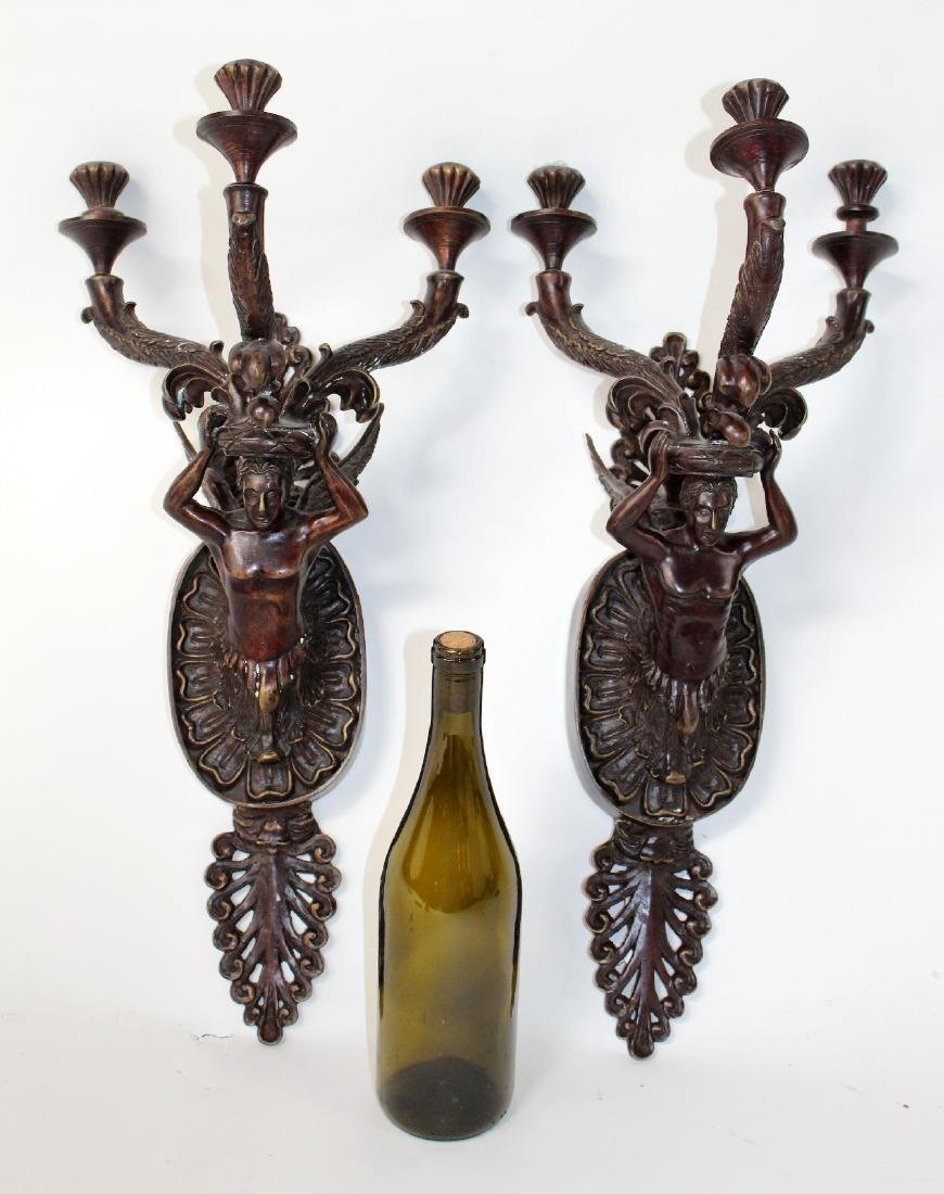 Pair of Maitland Smith bronze figural candle sconces - 6