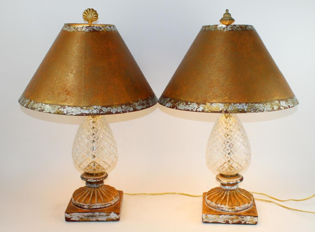 Pair of cut crystal pineapple form table lamps
