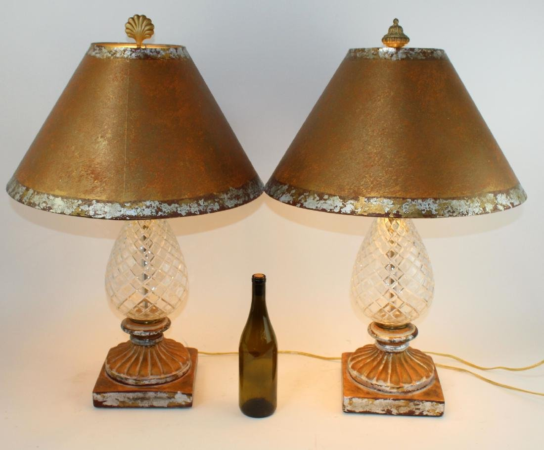 Pair of cut crystal pineapple form table lamps - 2