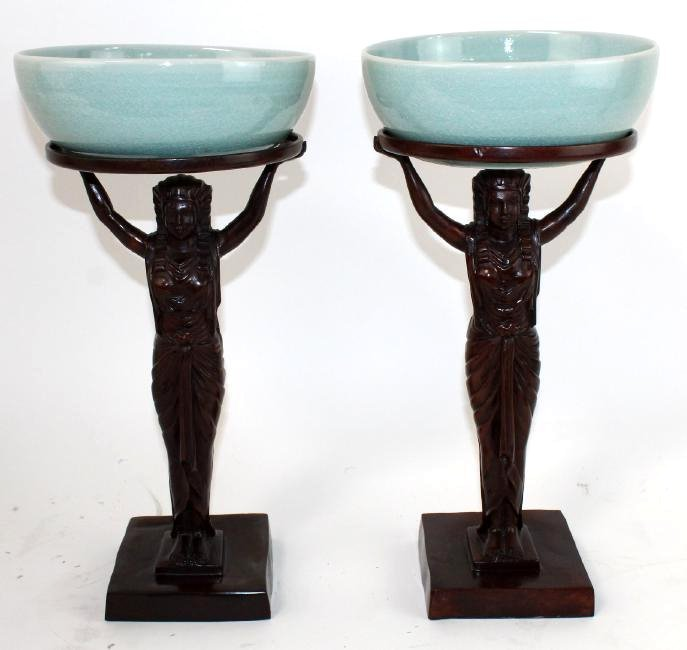 Pair of Maitland Smith Egyptian figural compotes