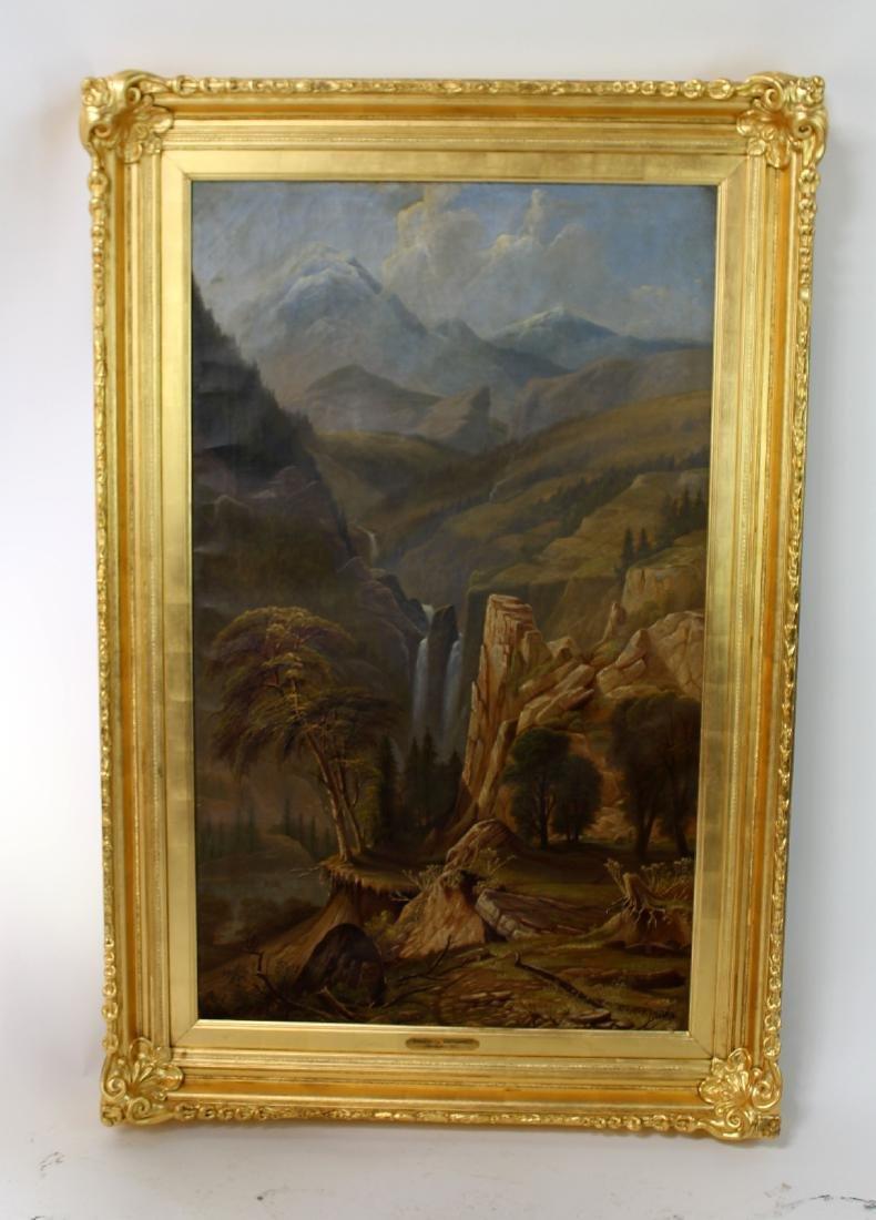 19th c American school oil on canvas landscape