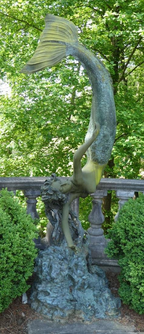 Monumental bronze diving mermaid sculpture