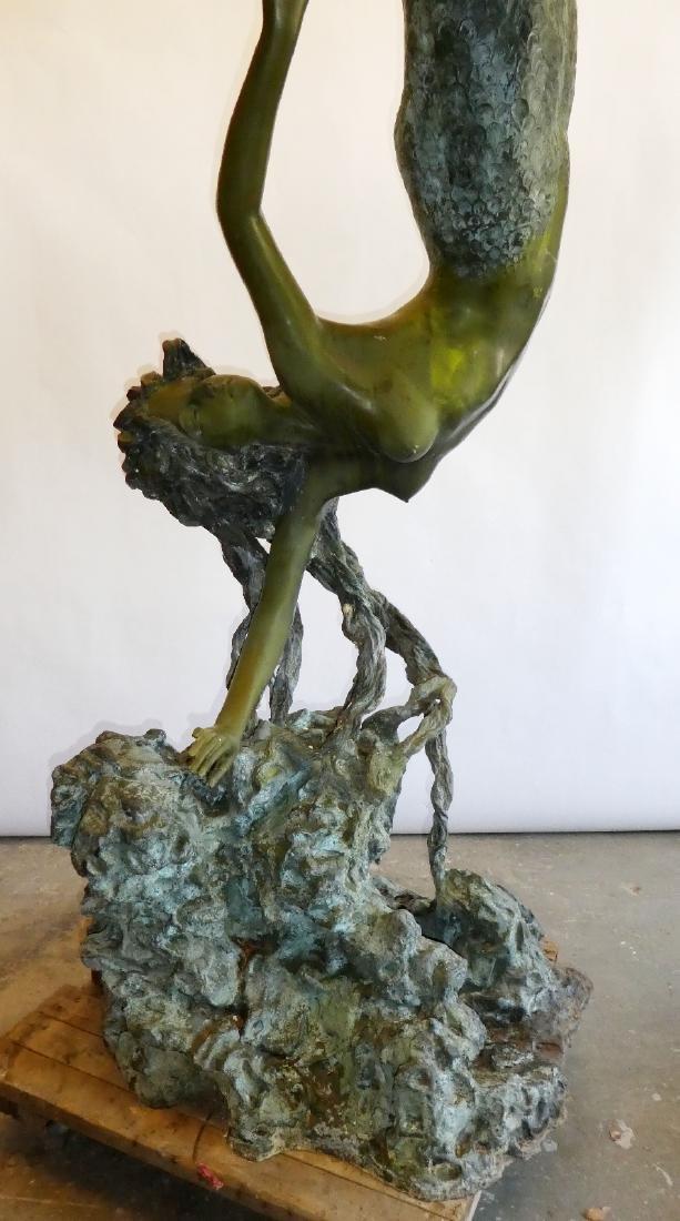 Monumental bronze diving mermaid sculpture - 3