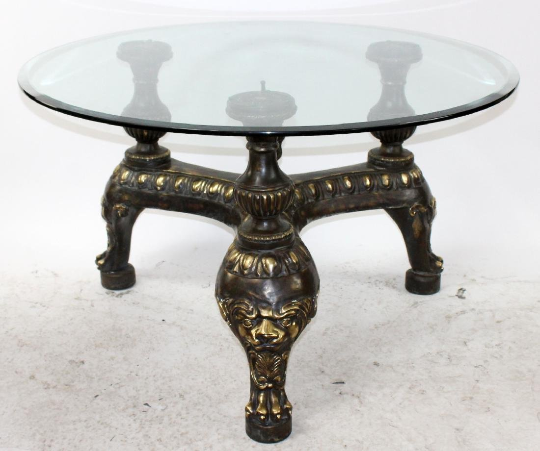 Maitland Smith iron center table with glass top