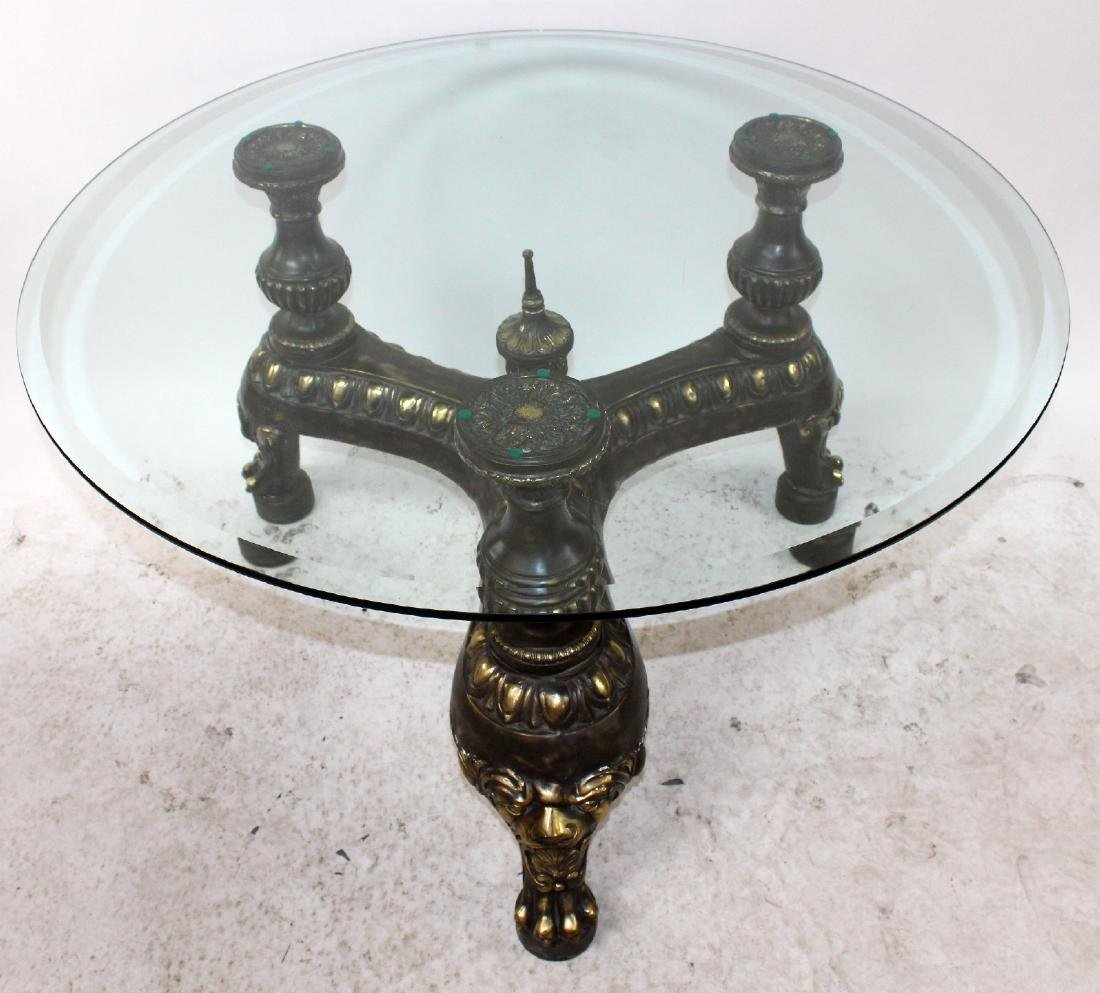 Maitland Smith iron center table with glass top - 3