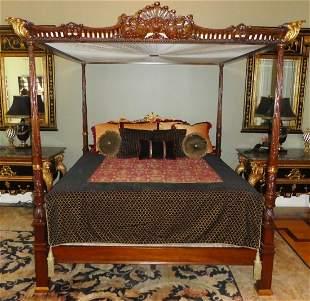 Maitland Smith mahogany king size canopy bed