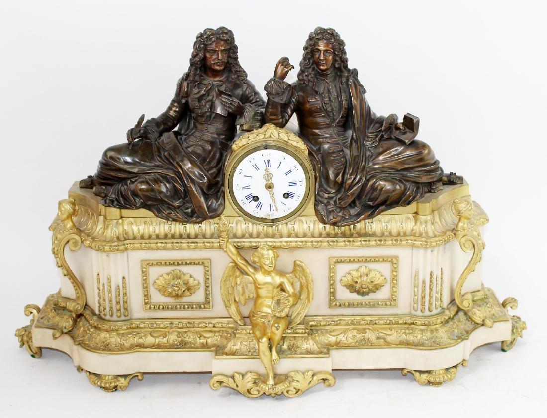 Neo classical French clock with 2 scholars