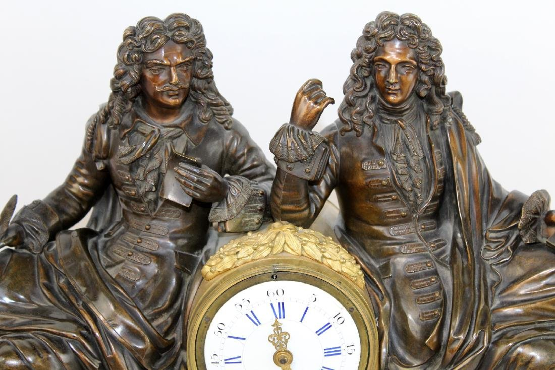 Neo classical French clock with 2 scholars - 4