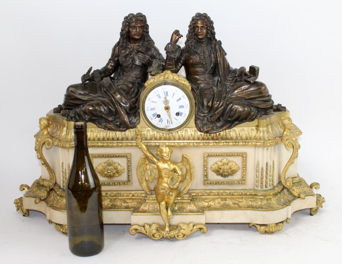 Neo classical French clock with 2 scholars - 9