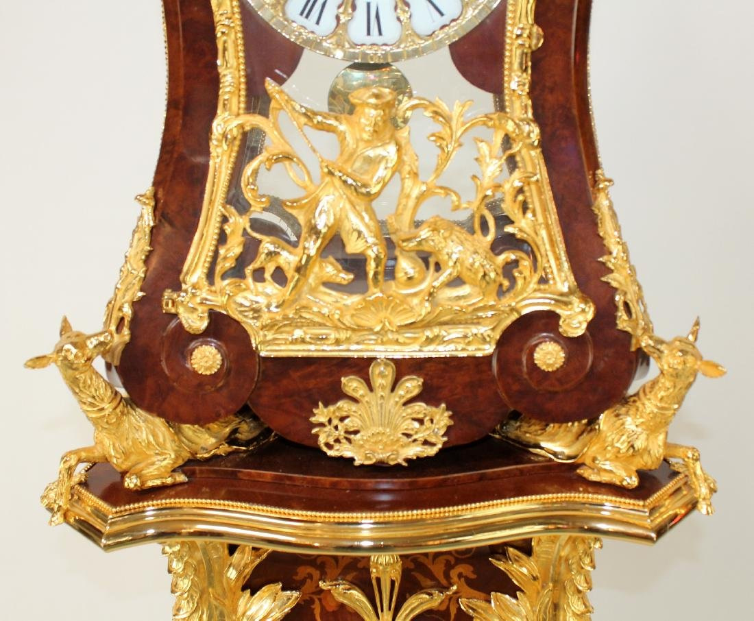 Louis XIV style dore bracket clock on pedestal - 3