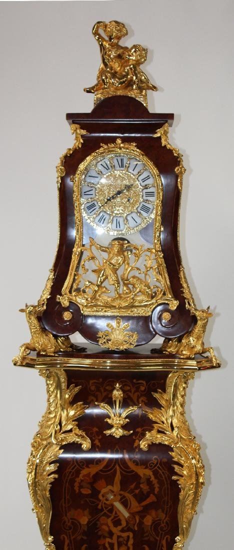Louis XIV style dore bracket clock on pedestal - 4