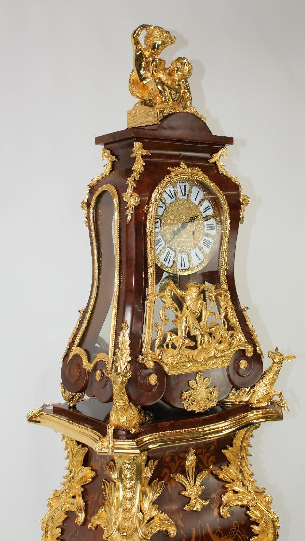 Louis XIV style dore bracket clock on pedestal - 7
