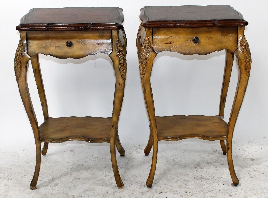 Pair of Maitland Smith Louis XV style side tables