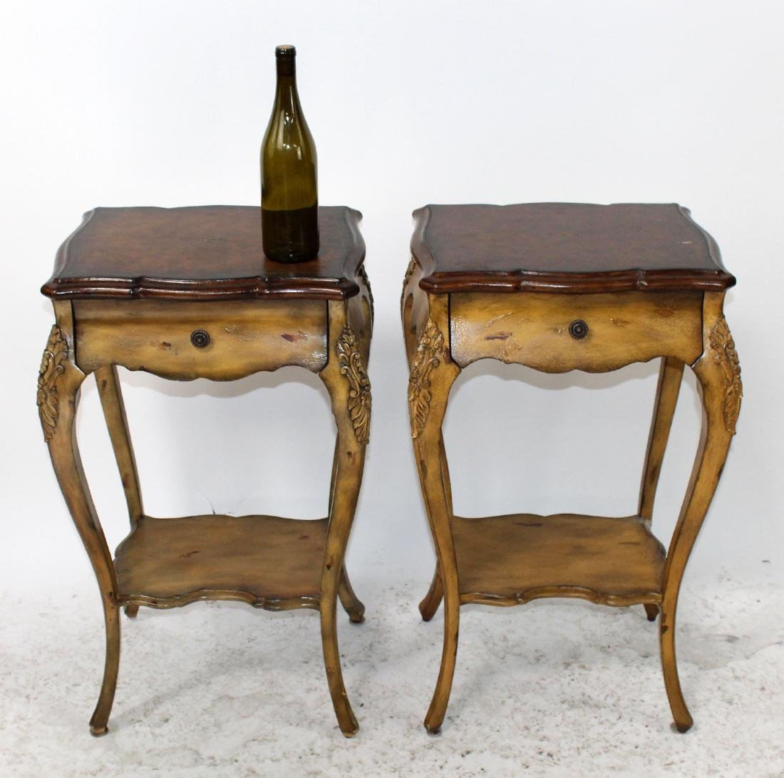 Pair of Maitland Smith Louis XV style side tables - 2