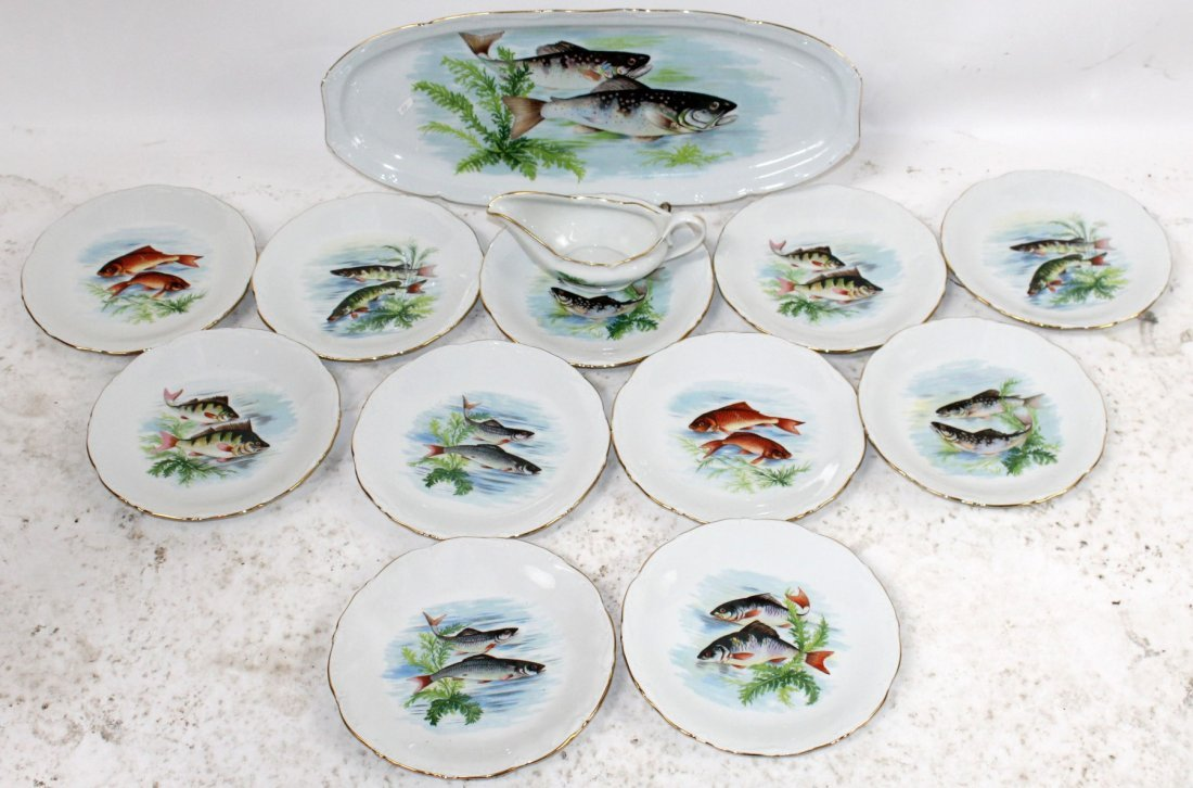 Set of French porcelain fish plates