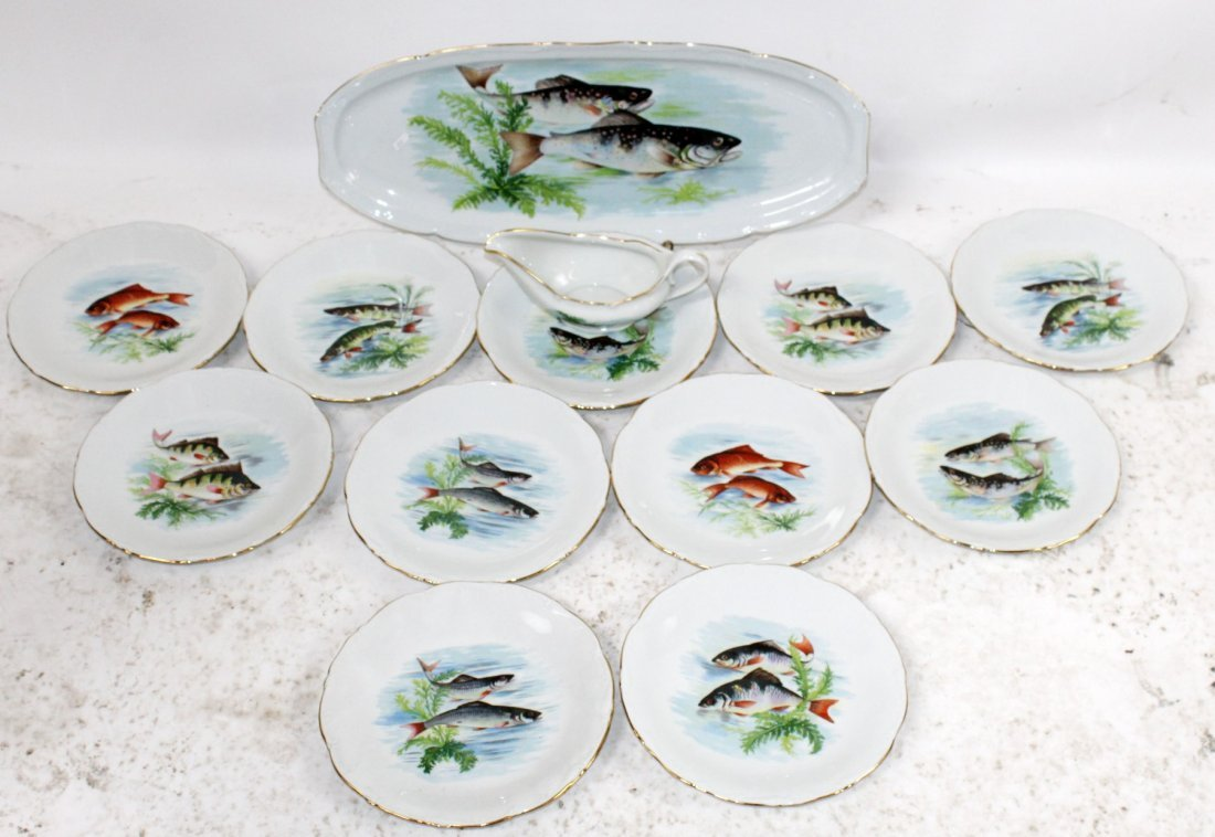 Set of French porcelain fish plates - 2