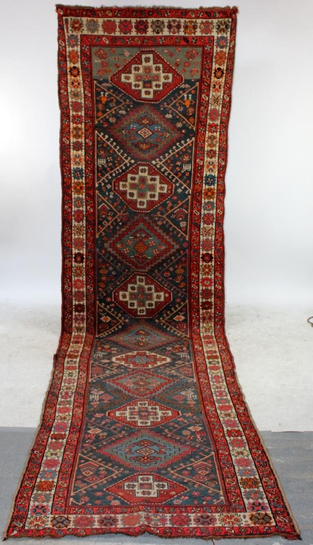 "3'7"" x 13'7"" Semi-antique Persian wool runner"