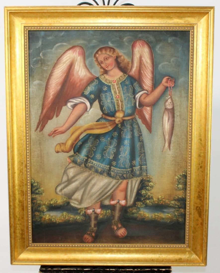 Oil on canvas depicting Archangel Raphael