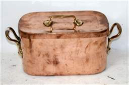 French copper pot with lid (daubier)