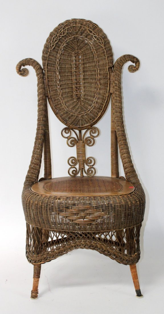Victorian wicker parlor chair