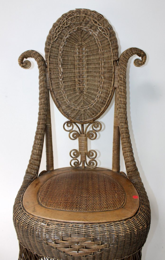 Victorian wicker parlor chair - 4