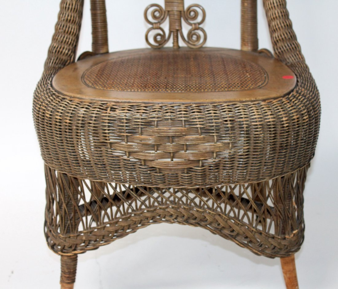 Victorian wicker parlor chair - 5
