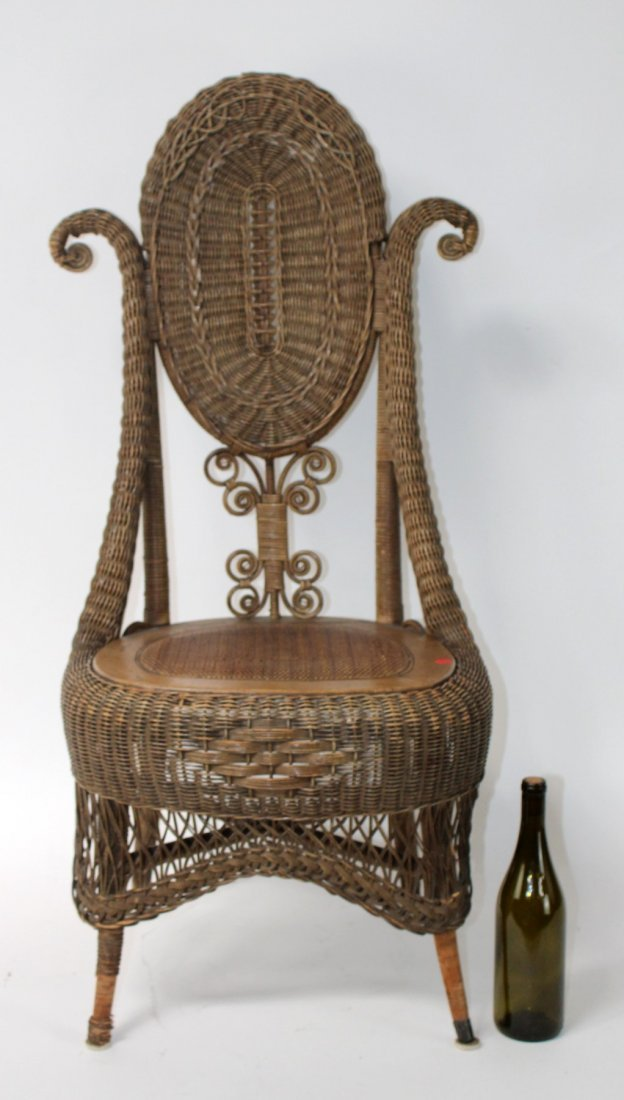 Victorian wicker parlor chair - 6