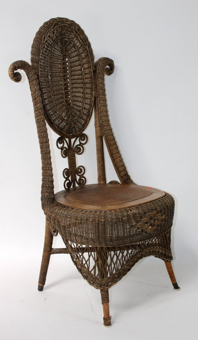 Victorian wicker parlor chair - 7