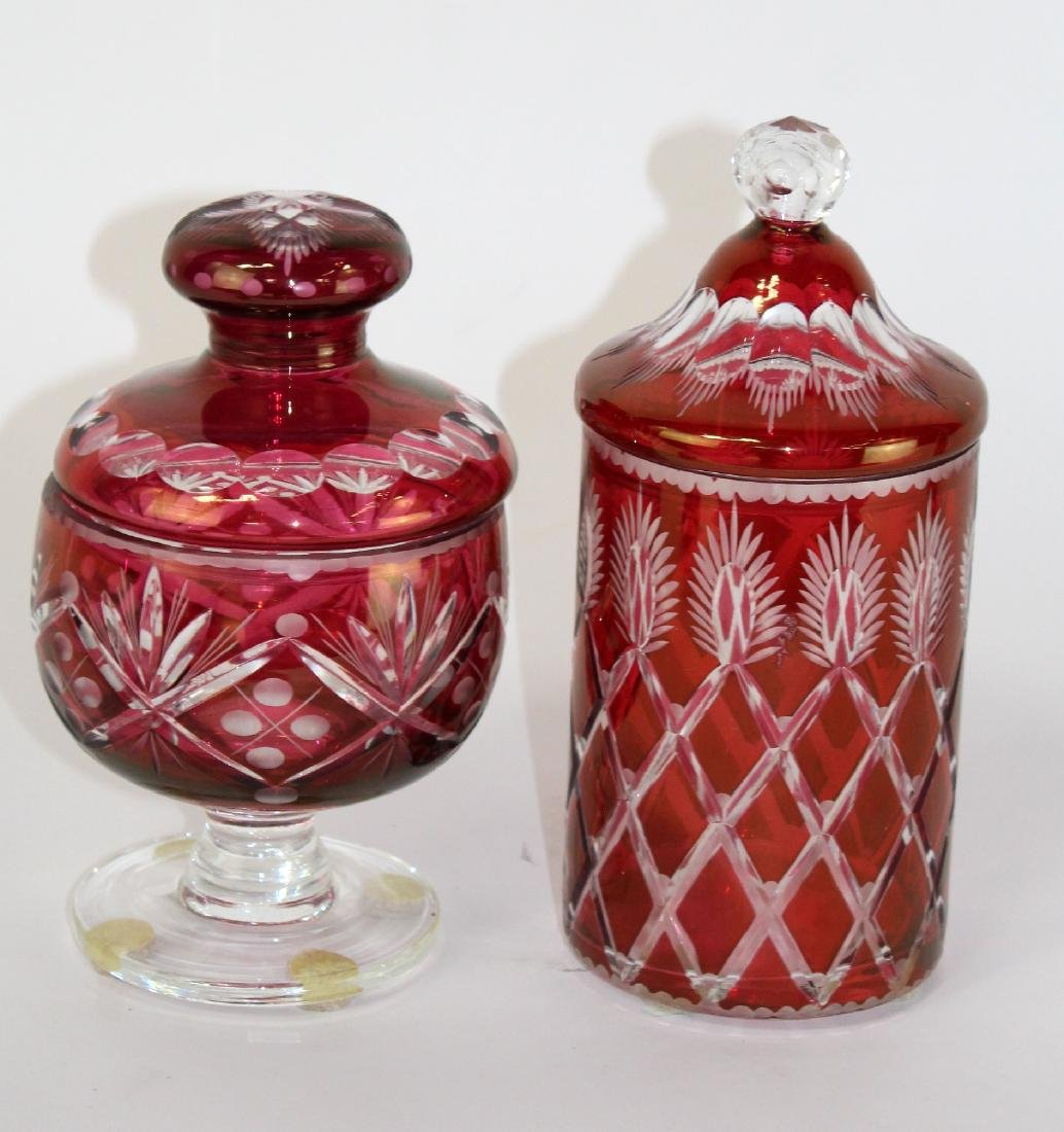 Lot of 2 cranberry cut to clear canisters