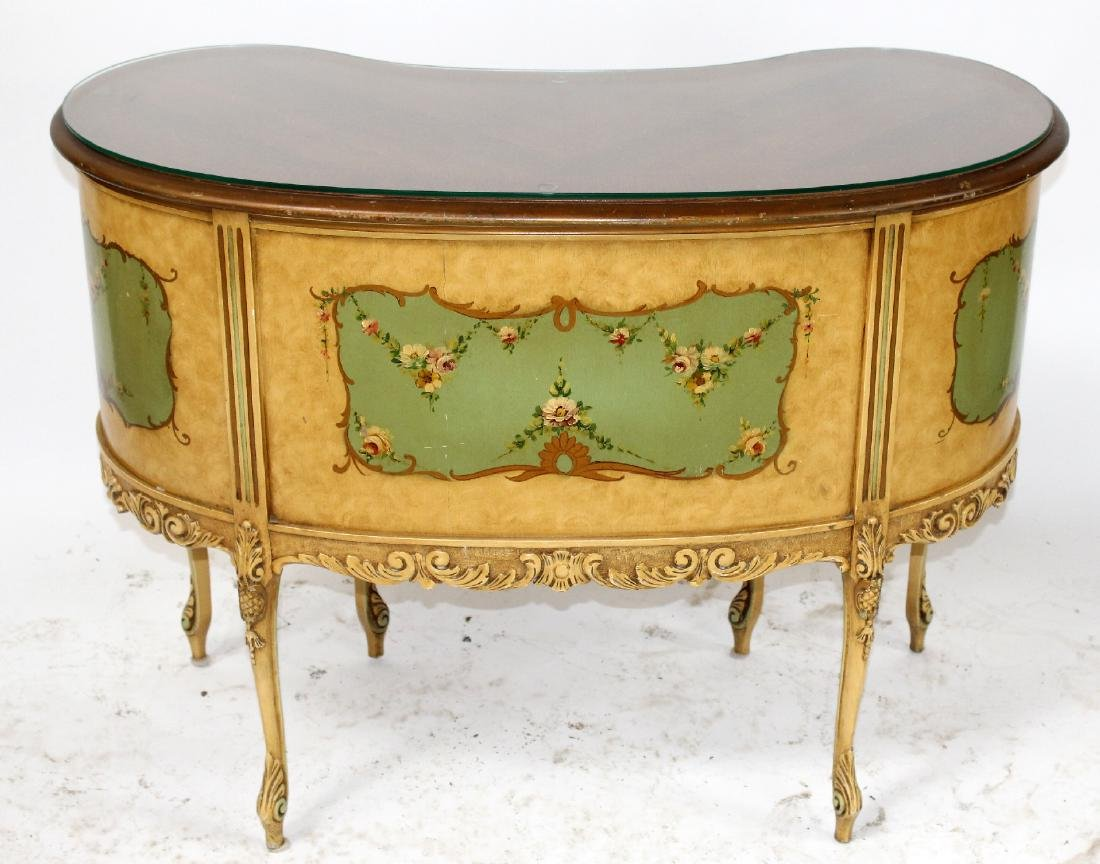 Louis XVI style painted vanity with chair - 2